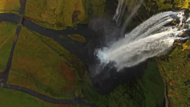 AERIAL Beautiful Seljalandsfoss waterfall in Iceland