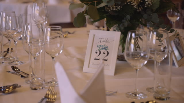 beautiful serving wedding table at the exquisite banquet - stock video - arrangement stock videos & royalty-free footage