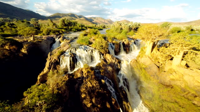 heli beautiful shot of the epupa falls - multicopter stock videos & royalty-free footage