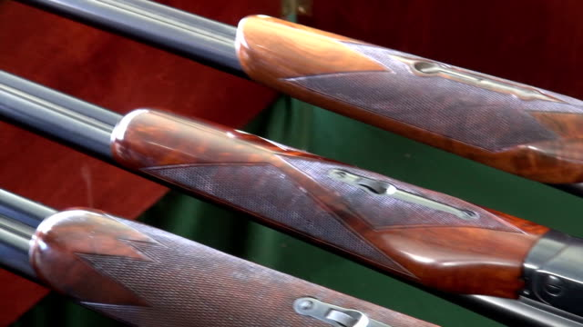 beautiful shotguns being cleaned - weaponry stock videos & royalty-free footage