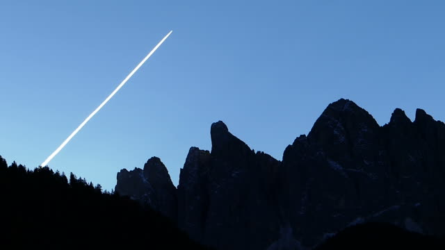 Beautiful silhouette scene of Dolomite Alps in Italy