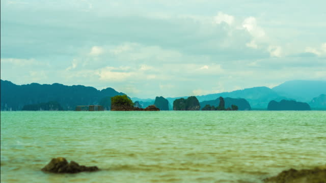 beautiful sky and sea at kho yao noi, phang-nga, thailand. - phang nga bay stock videos and b-roll footage