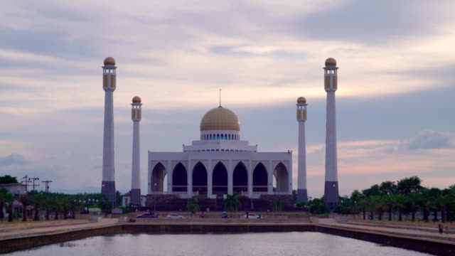 Beautiful sky of central songkhla mosque thailand