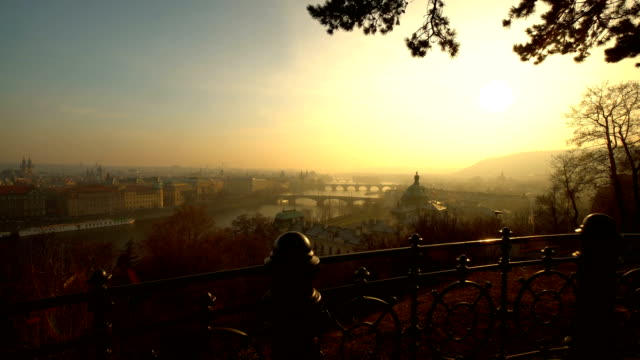 beautiful skyline prague at sunset, realtime - czech culture stock videos & royalty-free footage