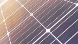 Beautiful solar panel frame at sunset, close-up solar panel, solar panel and sun flare