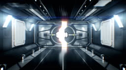 Beautiful Spaceship Tunnel with Opening Metal Gates and Flight Out Through it to White Light. Abstract Futuristic 3d Animation with Alpha Channel.