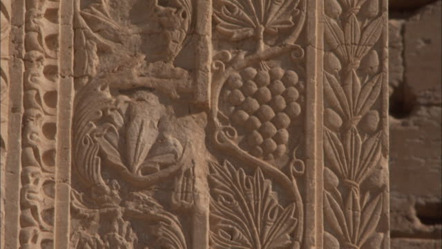 Beautiful stone carvings of grape vines decorate a wall in the ancient city of Palmyra. Available in HD