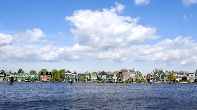 beautiful sumer sky over zaanse schans, holland - village stock videos & royalty-free footage