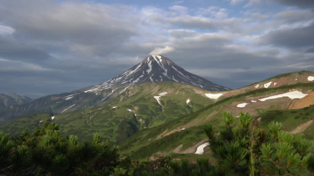 beautiful summer panoramic view of volcanic landscape of kamchatka peninsula. time lapse - eurasia stock videos and b-roll footage