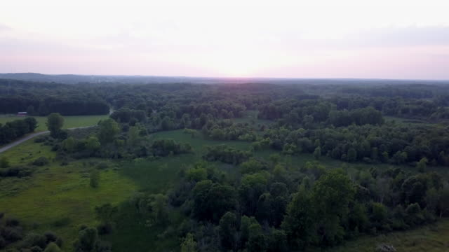 beautiful summertime sunset aerial footage of the michigan farm land - midwest usa stock videos & royalty-free footage