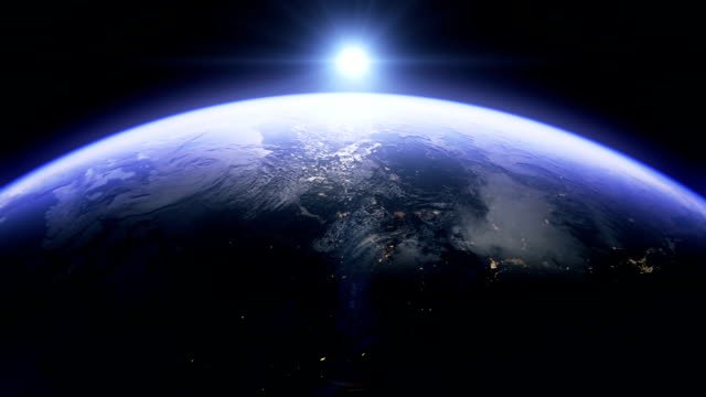beautiful sunrise above north america and usa - planet space stock videos & royalty-free footage