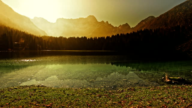 Beautiful sunrise at the mountain lake