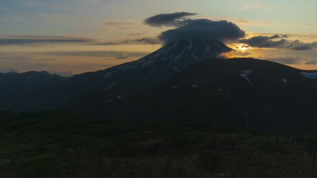 beautiful sunrise in mountains, stunning summer panoramic view of cone volcano. time lapse - eurasia stock videos and b-roll footage