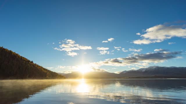 beautiful sunrise lake tekapo, new zealand, time lapse video - new zealand stock videos & royalty-free footage