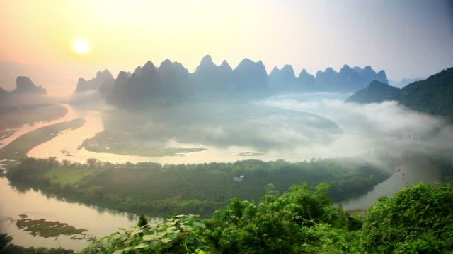 beautiful sunrise on li river - li river stock videos & royalty-free footage