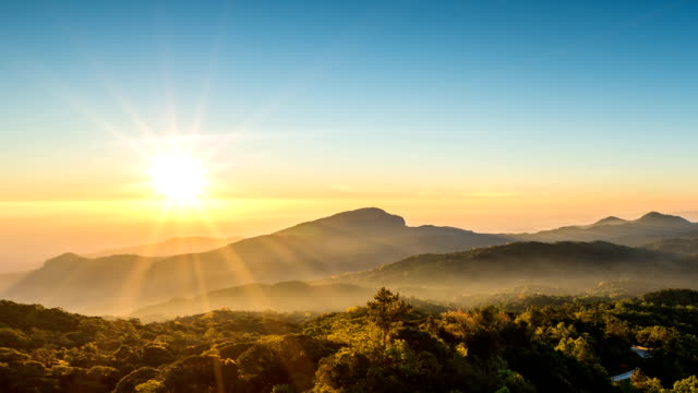 Beautiful sunrise over mountain range in Asia, Chiang Mai, Thailand.