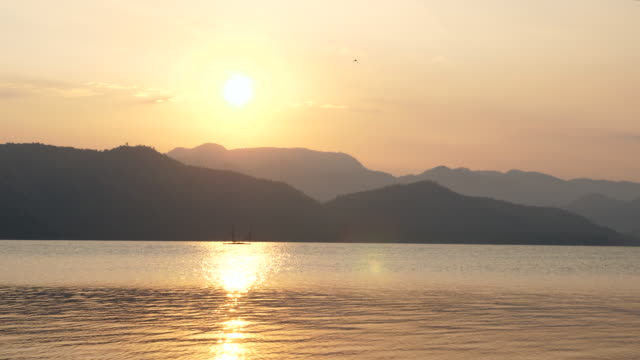 beautiful sunrise over mountains and lake - tree trunk stock videos & royalty-free footage
