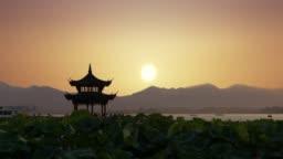 Beautiful sunrise with an ancient pagoda.