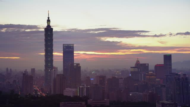 台北市の中心部に美しい夕日, 台湾 - taipei点の映像素材/bロール