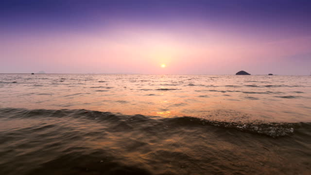 beautiful sunset at tropical sea time lapse