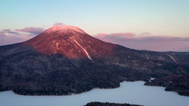 beautiful sunset in akan lake - hokkaido stock videos & royalty-free footage