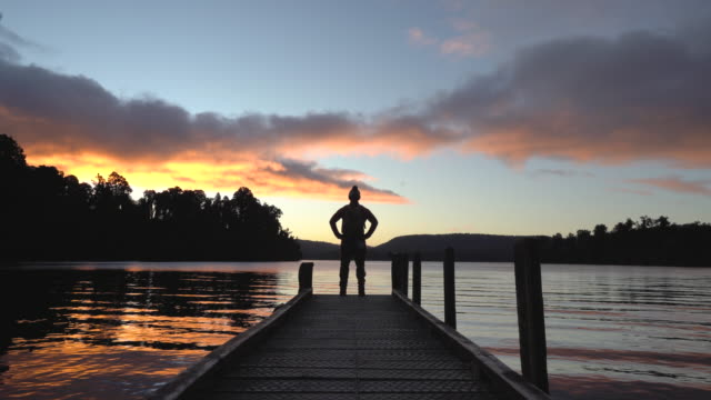 beautiful sunset on lake. - new zealand culture stock videos & royalty-free footage