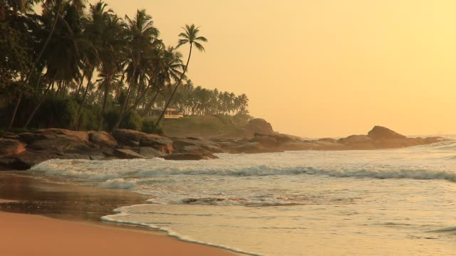 beautiful sunset on the beach in a tropical resort. sri lanka - sri lankan culture stock videos & royalty-free footage