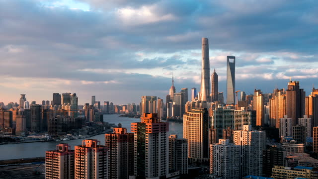beautiful sunset over huangpu river in shanghai - river huangpu stock videos & royalty-free footage
