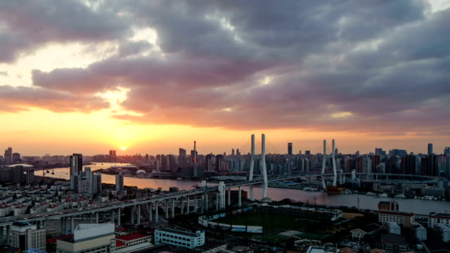 Beautiful sunset over Huangpu River in Shanghai