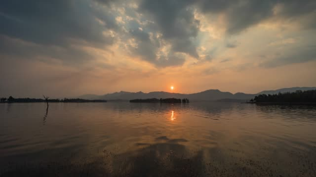 Beautiful Sunset over Mountains and Lake, Day to Sunset Time Lapse