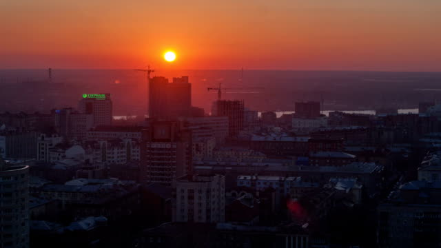 TL Beautiful sunset over over city / Russia, Novosibirsk