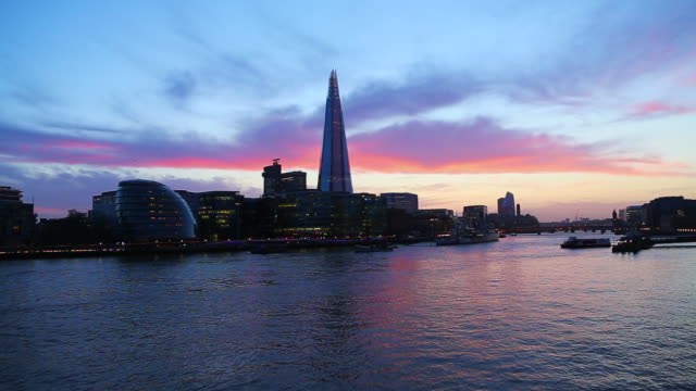 Beautiful sunset sky over the city of London with the Shard and Thames river.