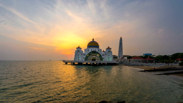 Beautiful Sunset view of the Malacca Strait Mosque. Timelapse