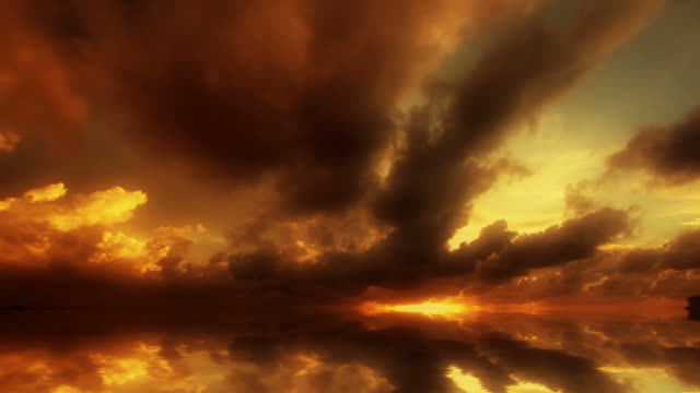 beautiful sunset with a reflection - horizon stock videos & royalty-free footage