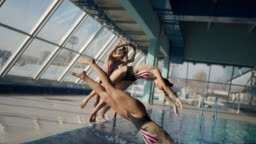 Beautiful synchronized swimming performance