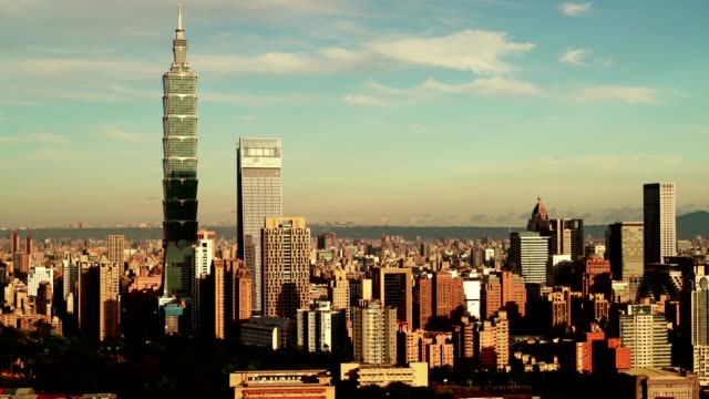 beautiful taipei city with modern buildings with wonderful weather - taipei 101 stock videos & royalty-free footage