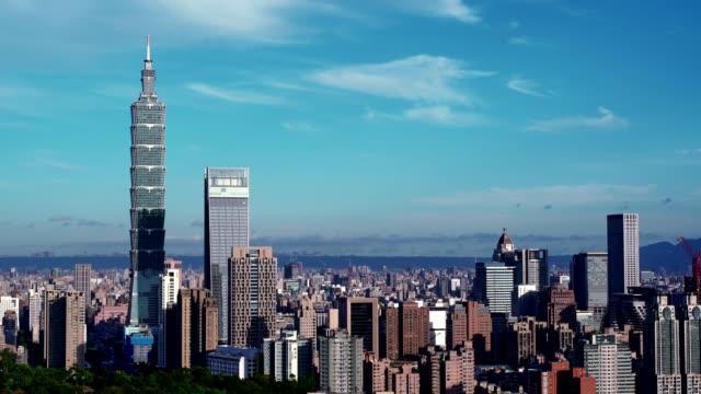 beautiful taipei city with modern buildings with wonderful weather - taipei 101 stock videos & royalty-free footage