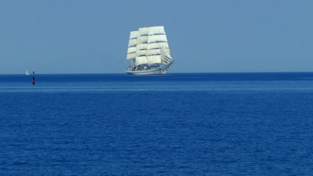beautiful tall ship in the sea on all sails - sailing ship stock videos & royalty-free footage