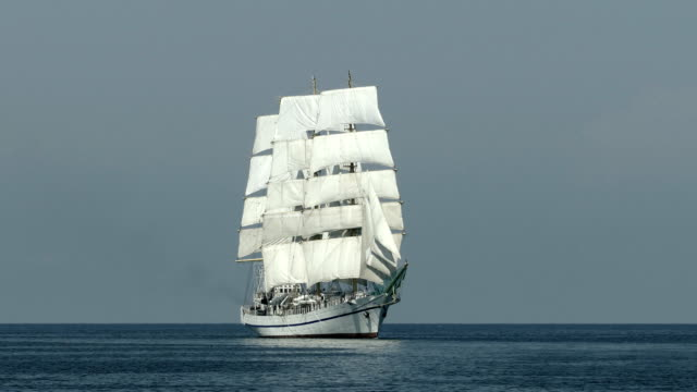 beautiful tall ship on all sails - nave a vela video stock e b–roll