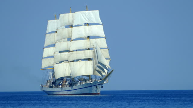 beautiful tall ship on all sails - the past stock videos & royalty-free footage