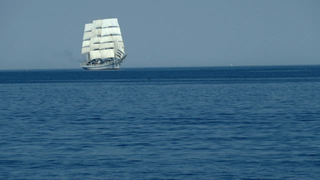 beautiful tall ship under all sails in the open sea - veliero video stock e b–roll