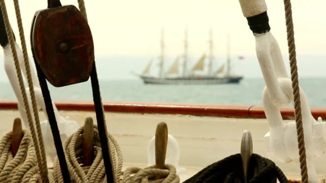 stockvideo's en b-roll-footage met beautiful tall ship - mast
