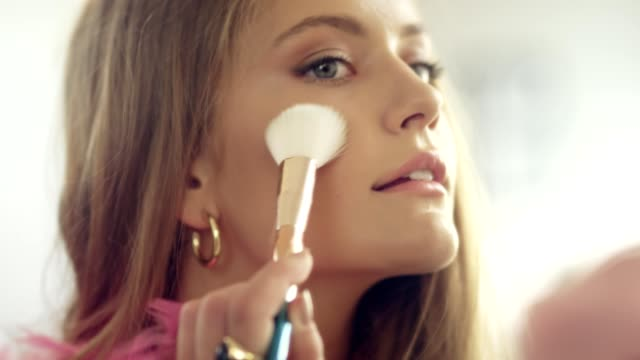 beautiful teen girl putting on first make up - blusher stock videos & royalty-free footage