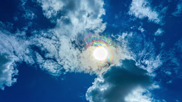 beautiful time lapse cloudy sky with sun rays halo in the summer - cumulonimbus stock videos & royalty-free footage