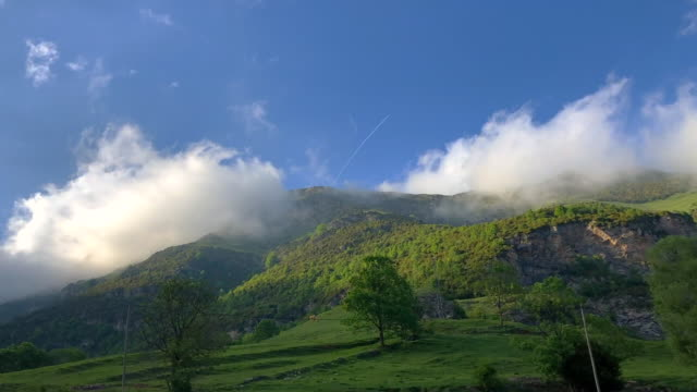 beautiful time lapse in the green pyrenees mountains with clouds and cows. - tracery stock videos and b-roll footage