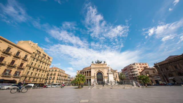 t/l beautiful time lapse on piazza politeama in palermo - piazza video stock e b–roll