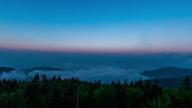 beautiful time lapse sequence showing clouds drifting over the hills of the great smoky mountain national park. - appalachian mountains stock videos & royalty-free footage