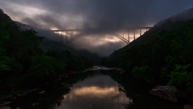 Beautiful time lapse shot of clouds passing through the New River Gorge Bridge in West Virginia.