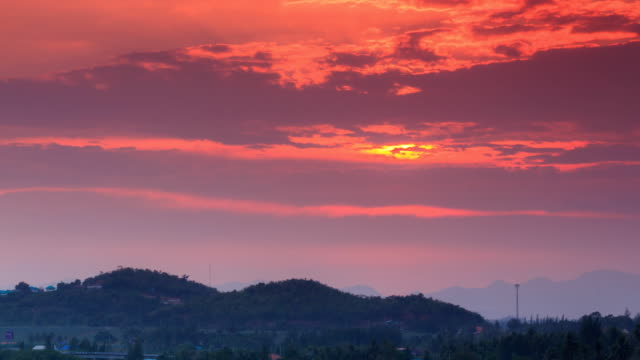Beautiful Time Lapse sunset over mountain at thailand