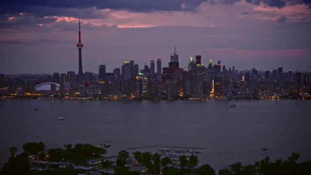 aerial beautiful toronto waterfront in the evening - helicopter point of view stock videos & royalty-free footage